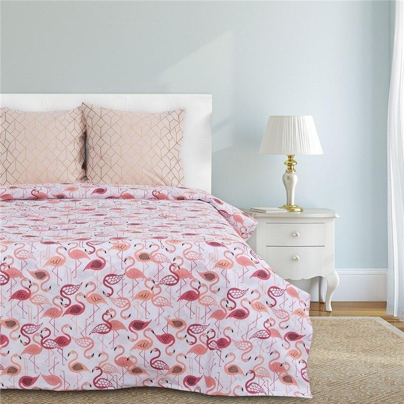 Bed Linen Ethel's duo Flamingo 143 × 215 cm-2 pcs, 220 × 240 cm, 70 × 70 cm-2 pcs 100% CHL, calico 125g/m² 2 pcs 15mmx13mmx1000mm 100