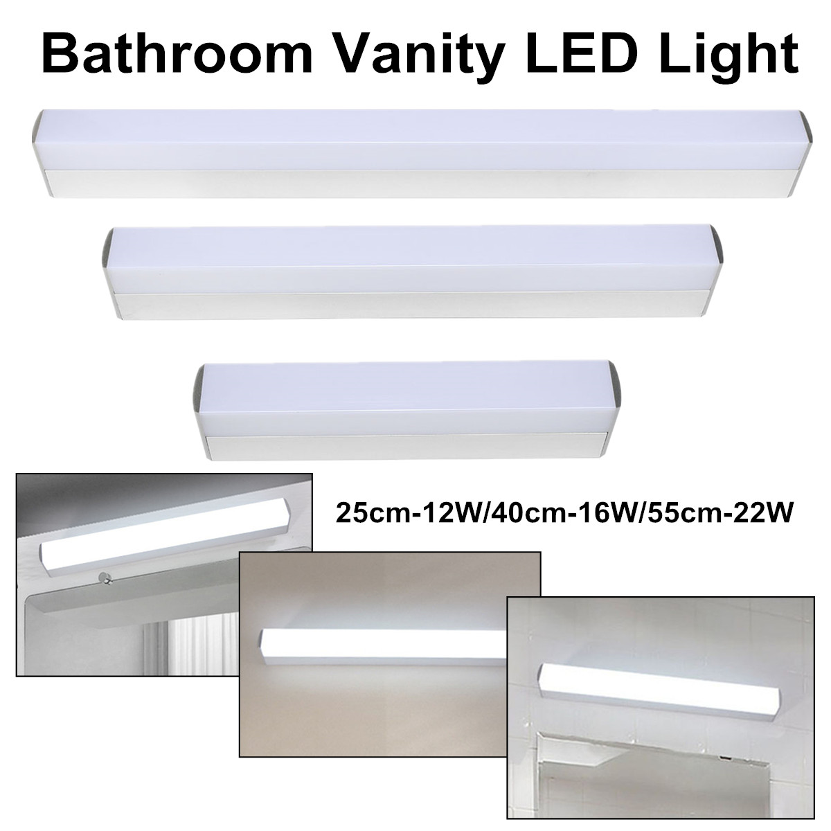 Lights & Lighting 85-265v 25cm12w 40cm16w 55cm22w Modern Bathroom Vanity Led Light White Acrylic Front Mirror Toilet Wall Lamp Fixture Waterproof Agreeable Sweetness Led Lamps
