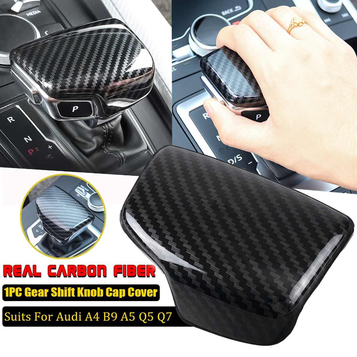 Gear Shift Knob Cap Cover For Audi A4 B9 A5 Q5 Q7 Carbon Fiber Cover font