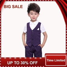 Baby Prom Suits 2-8Years old Kids Summer suits Vest + shirts pants 3Pcs Children Clothing sets Boys Party Sets