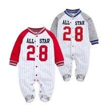4bb270bb5c02f Ropa de bebé recién nacido traje de primavera y otoño-estrella de uniforme  de béisbol infantil mameluco del bebé deportes Casual.