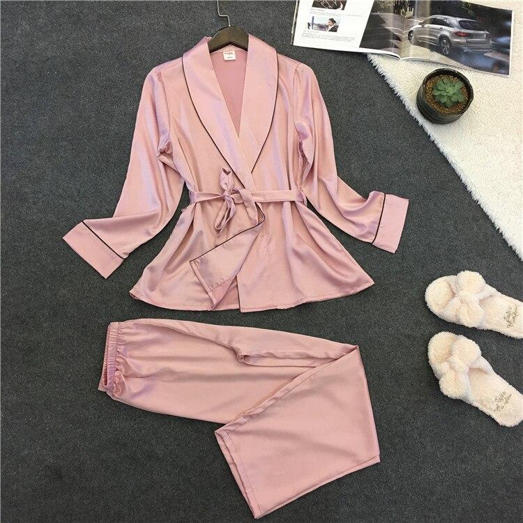 Spring New Lady Silk Women Sexy   Pajamas   Solid Rayon Sleepwear Long Sleeve Trousers Womens   Pajama     Set   Plus Size Pijama Two   Sets