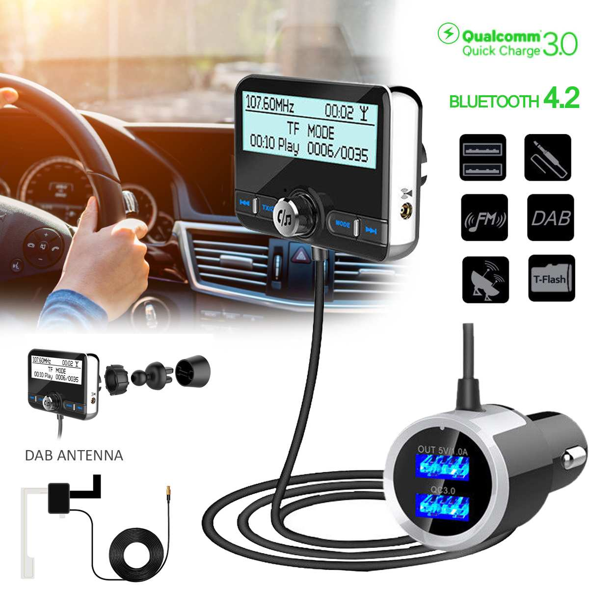 DAB/DAB радио + цифровое радио тюнер USB адаптер Bluetooth fm-передатчик TF/AUX/MP3 антенны ЖК-дисплей громкой связи вызов