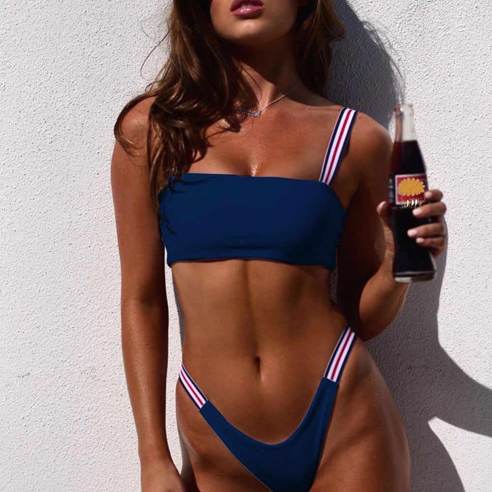 Belleziva лоскутный купальник сексуальный пуш-ап купальник женский комплект бикини бразильский бикини с низкой талией купальный костюм Maillot De Bain
