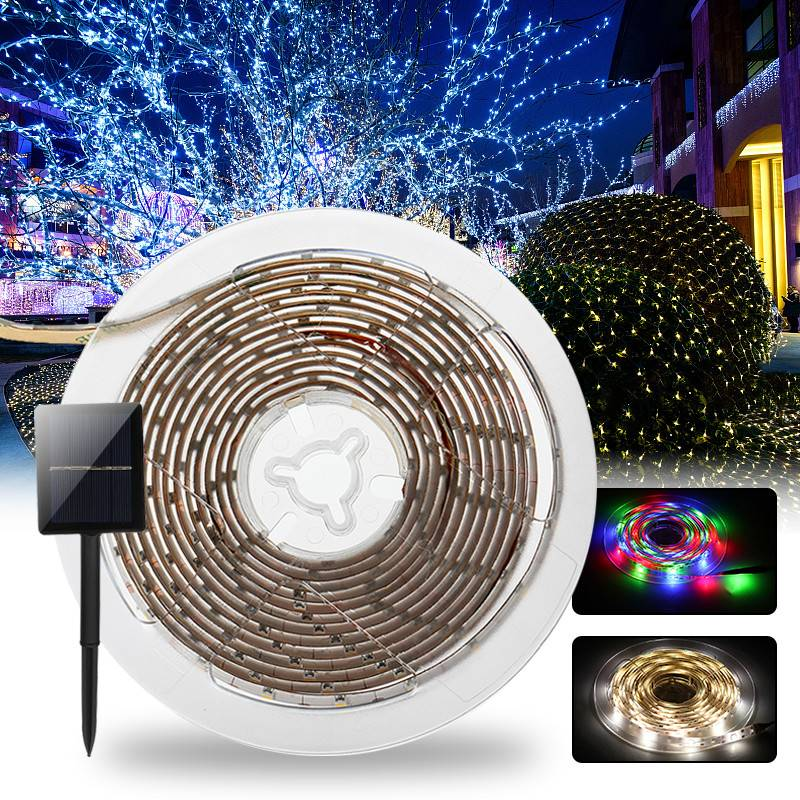 Solar Powered LED Strip Lights SMD2835 8 Modes RGB/Warm White Waterproof IP65 LED Holiday Strip Light DC2V