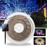 Solar Powered LED Luci di Striscia SMD2835 8 Modalità RGB/Bianco Caldo Impermeabile IP65 LED Vacanza Luce di Striscia DC2V