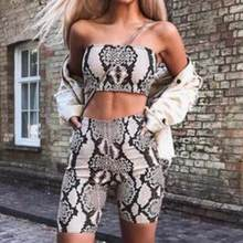Women Sexy Summer Two Piece Set Women Fashion Snake Print Pattern Strapless Crop Top + Elastic Waist Shorts Set Streetwear(China)