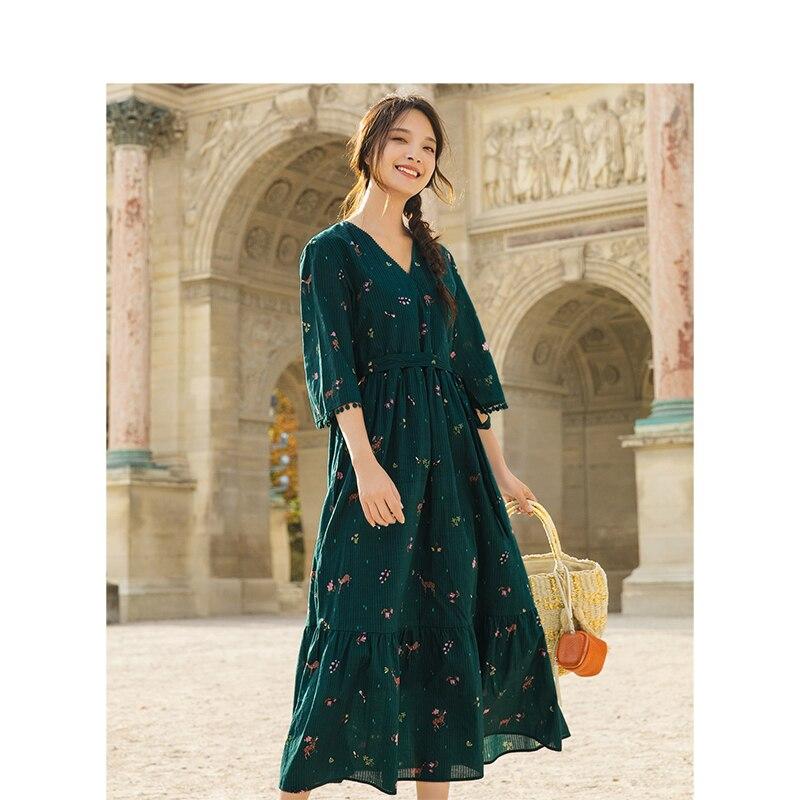 INMAN 2019 wiosna nowy nabytek z dekoltem w kształcie litery v literackie kwiatowy Retro w paski zdefiniowane talii Slim luźna linia kobiety sukienka w Suknie od Odzież damska na  Grupa 3
