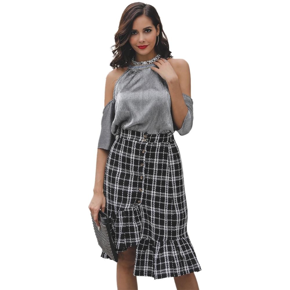 Women's Irregular Fishtail Skirt Elegant Bodycon High Waist Black White Lattice Skirt With Button Skirt