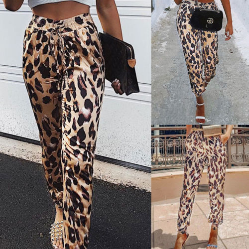 Camouflage Pants Womens Camo Cargo Sweat Pants High Waist Elastic Trousers Casual Baggy Joggers Print Pockets