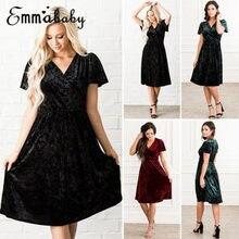 ec53f64399c Nouveau mode femmes décontracté manches courtes noir soirée partie col en v  robe rouge solide Midi · 3 Couleurs Disponibles