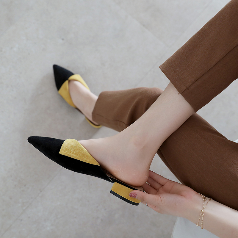 Pour toe Black Talons Style Cuir S021 Pointu Femmes Faible Mules 3 En Emballage yellow Chaussures Été De Mode Partie Cm Pantoufles Femme Boîte fn0zwaq1