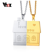 Vnox 1 Set Unisex Women Men I Love You House Shape Pendant Necklace for Lovers Couples Family Love Stainless Steel Jewelry(China)
