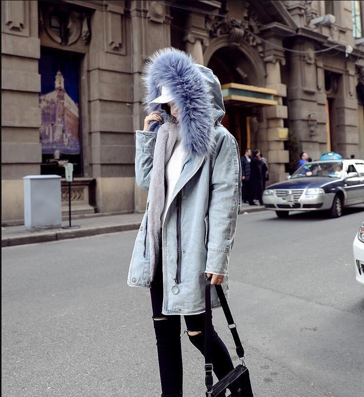 Grand Outwear Hiver Fourrure Casual rose Veste Parkas Coton Femelle Bleu Épaississement 2018 À De Capuchon Denim Col Femmes Manteau q0Rw65xg4