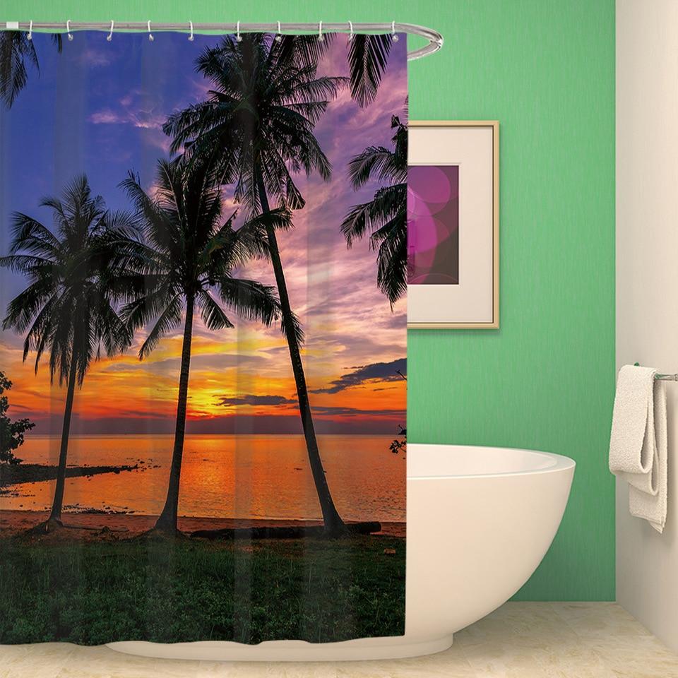 Beach Scenery Waterproof Partition Curtain Bath Curtain ...