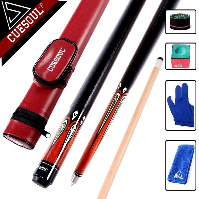 CUESOUL Maple Billiard Cues Shaft 11.75mm Tips 1/2 Split Pool Billiards Cue Stick 58 Inch With Case And Accessories As Gift