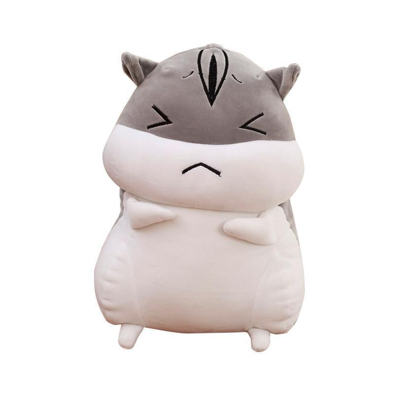Hamster Pillow Cute Plush Hamster Short and Super Funny Toy Gift for Girlfriend Kids Plush Pillows Toys (Angry Face)