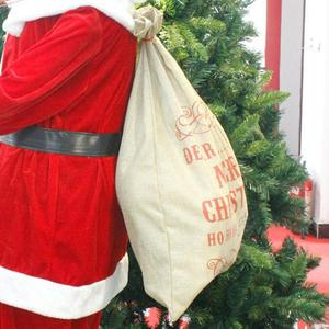 Image 3 - Big Size Merry Christmas Linen Gift Bag 2019 Santa Claus Sacks Drawstring Candy Bag Natal Noel New Year Xmas Home Decor Gift Bag