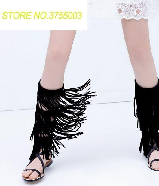 Summer Hot Ladies Fashion Gladiator Sandals Black Leather Fringe Women Knee High Sandals Open Toe Zipper Back Female Party ShoesSummer Hot Ladies Fashion Gladiator Sandals Black Leather Fringe Women Knee High Sandals Open Toe Zipper Back Female Party Shoes