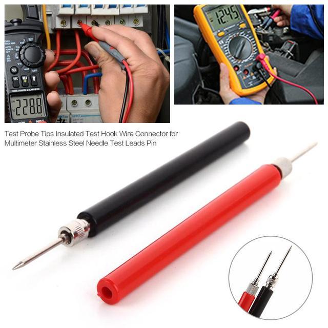 1 paar Test Meter Sonde Schwarz & Rot Test Sonde Spitze Isolierte Test Haken Draht Stecker Für Multimeter Edelstahl nadel Test