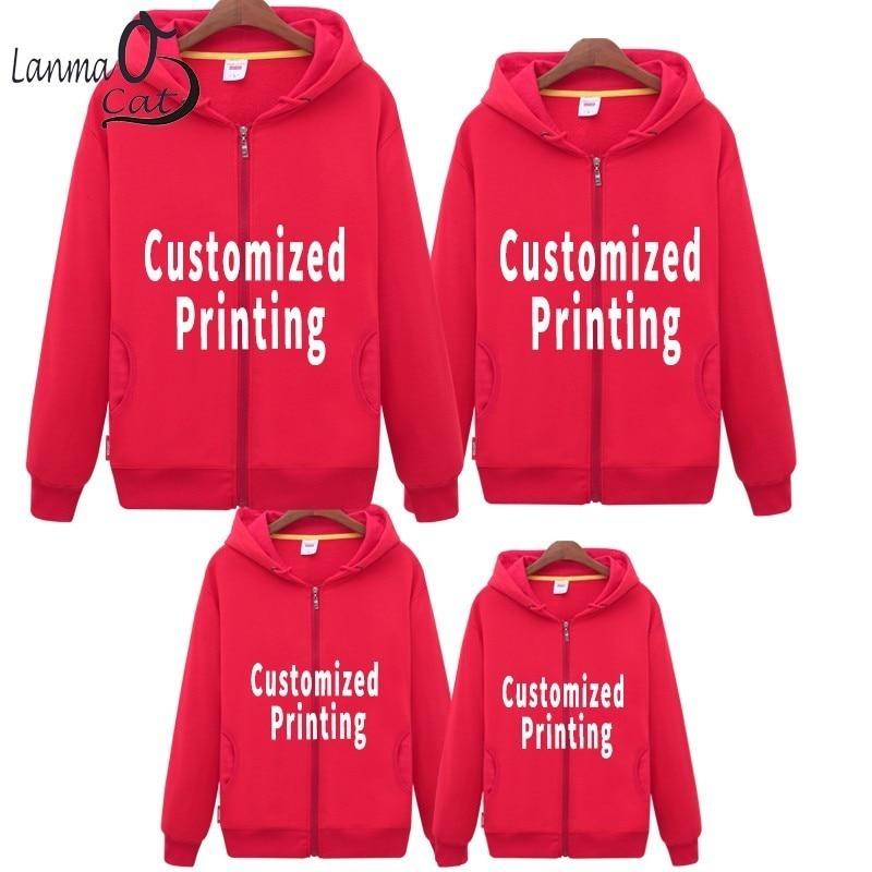 Lanmaocat correspondant vêtements famille papa mère fille vêtements Hoodieds personnalisé tissu pour famille tenues livraison gratuite