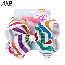 AHB Hair Accessories 7 Inch Large Bows Clips for Girls Glitter Print Rainbow Striped Ribbon Bow Hairgrips Kid Headwear