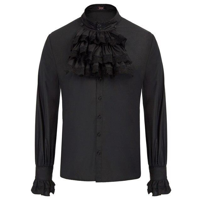 Người Đàn Ông mới Gothic tops mùa thu mùa đông Steampunk đảng câu lạc bộ Dài Tay Áo Đứng Cổ Áo Jabot Trang Trí Áo Sơ Mi retro áo blouse camisa