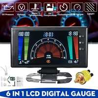 Car 6 in 1 LCD Car Digital Gauge Oil Pressure Voltage Water Temperature Oil Temperature Tachometer RPM 8 18V