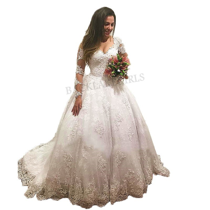 Vestido De Casamento Nude Long Sleeves Wedding Dress Luxury Ball Gown Bridal Gowns Custom Made Appliques Wedding Dresses 2019