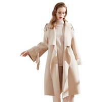 Hand stitched cashmere wool trench double sided woolen long coat autumn and winter solid adjustable waist woolen overcoat s137