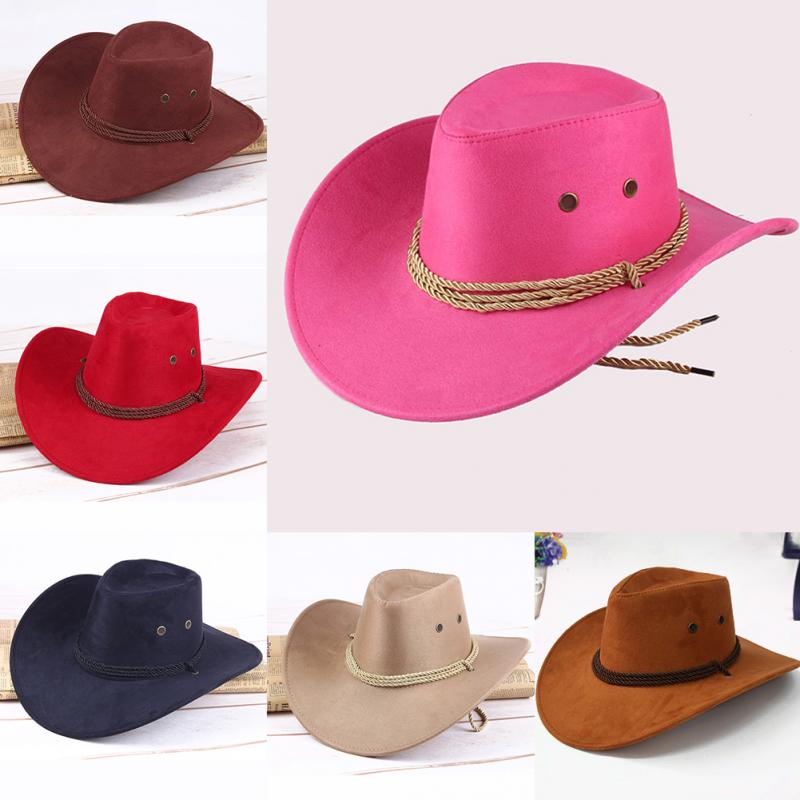 Fashion <font><b>Hats</b></font> Western Sun Shield <font><b>Unisex</b></font> <font><b>Cowboy</b></font> Cap Black Red Coffee Brown Casual Artificial Leather <font><b>Hat</b></font> Wide <font><b>Cowboy</b></font> <font><b>Hats</b></font> image