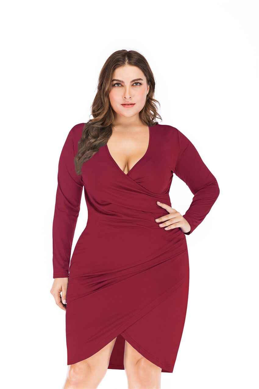 Wipalo, женское платье, плюс размер, 5XL, глубокий v-образный вырез, асимметричное платье с разрезом, длинный рукав, Драпированное, повседневное, одноцветное, с разрезом, облегающее платье, вечерние платья