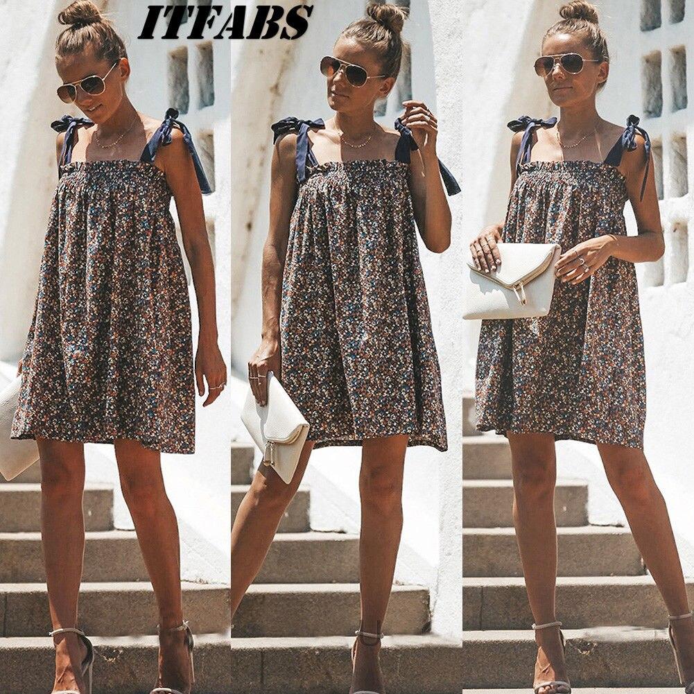 Dress 2019 New Women Boho Floral Beach Sundress Sleeveless Casual Print Summer Evening Party  Short Mini Dress