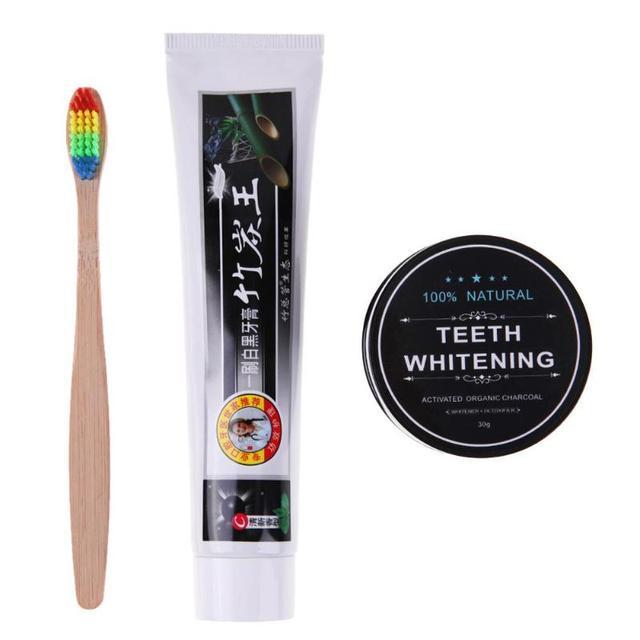 Blanqueamiento Dental de polvo de carbón activado de carbón de coco Natural blanqueamiento de dientes + carbón pasta de dientes + Arco Iris madera cepillo de dientes