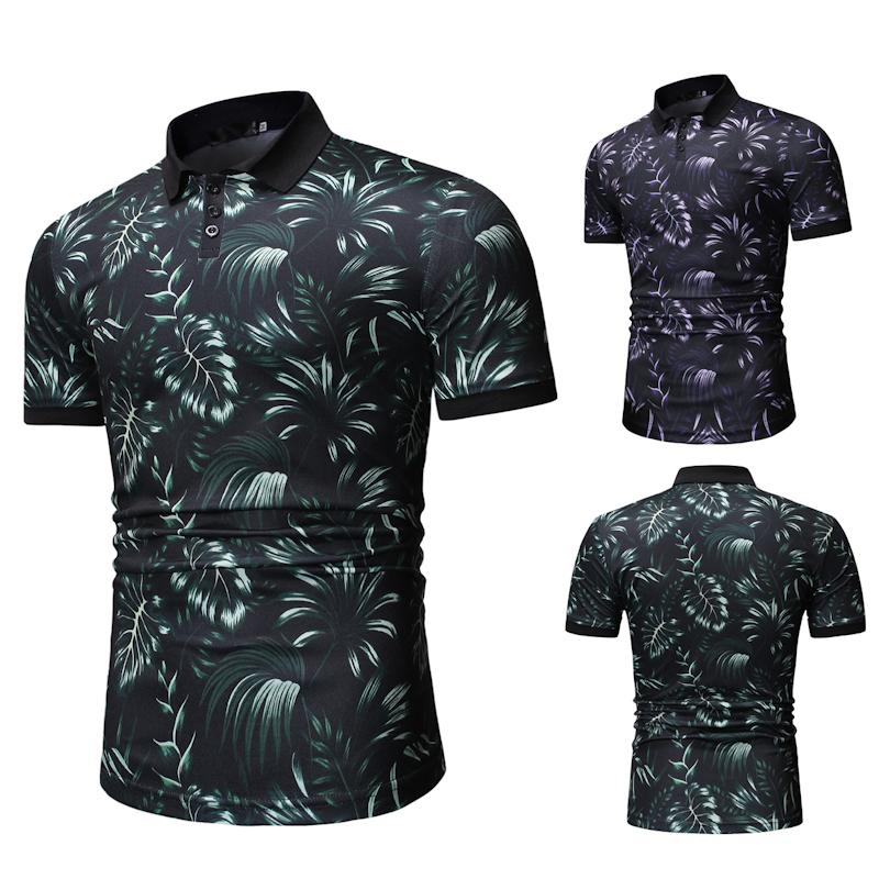 Men's Clothing Tops Men   Polo   Shirt Hawaiian style Tees Green purple Casual Men clothes 2019   Polo   Shirt Men New