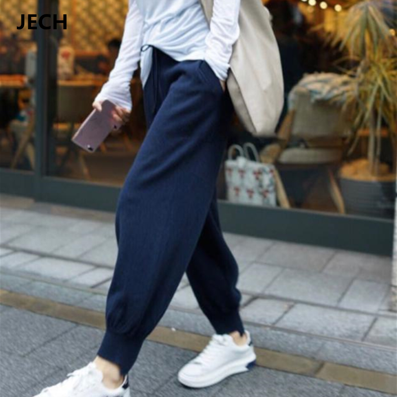 JECH Soft Waxy Cashmere Wool Harem   Pants   Female Comfortable Pure Knitted   Wide     Leg     Pants   Casual Loose Knitted Long   Pants   Women