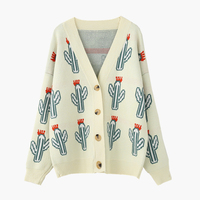 Fashion Cactus Print Sweater Cardigan Women Loose Korea Style Long Sleeve Knitted Jacket Female Harajuku Manteau Femme Hiver