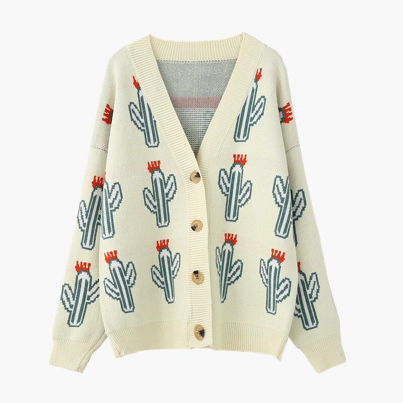 Mode Cactus imprimer pull Cardigan femmes lâche Style coréen à manches longues tricoté veste Femme Harajuku Manteau Femme Hiver