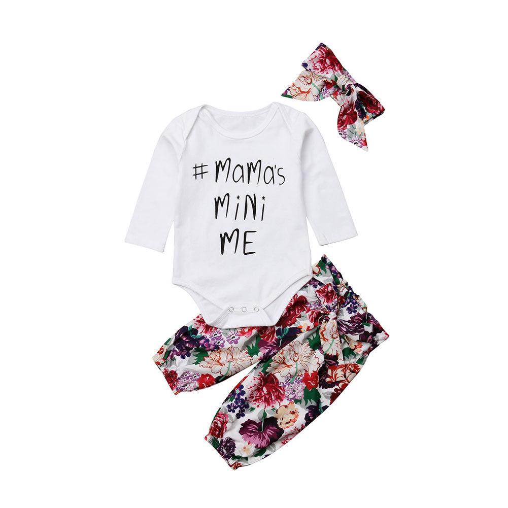 0-18 Mt Nette Neugeborene Baby Mädchen Langarm Baumwolle Body Tops Floral Lange Hose Stirnband 3 Stücke Outfits Kleidung Set Freigabepreis
