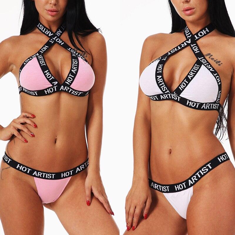 Women Sexy Letter Printing Bandage   Bra     Set   Push-up Halter Elastic   Bra  +  Brief   Underwear   Set   Comfortable Lingerie   Set