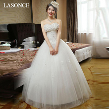 LASONCE Off The Shoulder Lace Appliques Ball Gown Wedding Dresses Flowers Strapless Tulle Backless Bridal Dress