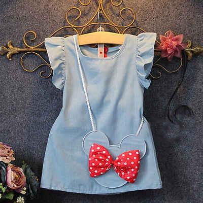 2019 Hot Sale Real Arco Reto Nylon Crianças Das Crianças Do Bebê Menina Vestido de Minnie Mouse Sem Mangas Sólida Saco Demin Vestidos Casuais 1-5y
