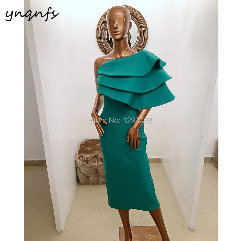 YNQNFS E9 New Arrival   Dress   Party Tiered Ruffles One Shoulder Satin Emerald Green Robe   Cocktail     Dress   2019