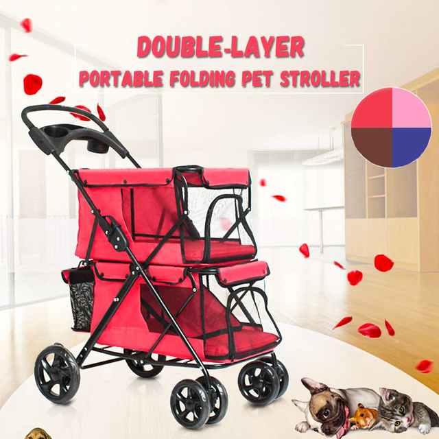 Portable Folding Double-layer Pet Stroller