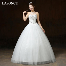 LASONCE Crystal Strapless Lace Appliques Ball Gown Wedding Dresses Off The Shoulder Pleat Backless Bridal Gowns aidi yin the crystal ball