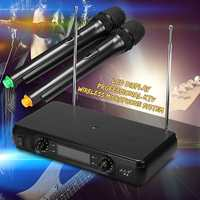 2 Channel Dual EU/UK High fidelity Cordless Handheld Mic Wireless Microphone System With LCD Display Stability Large Receiving