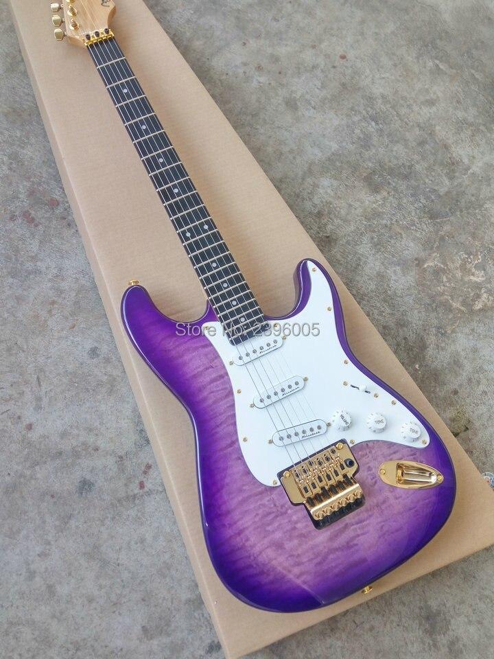 Offre spéciale guitare électrique de corps d'orme, guitare de strat de système de tremolo de double serrure, finition pourpre de couleur, matériel d'or, touche d'ébène
