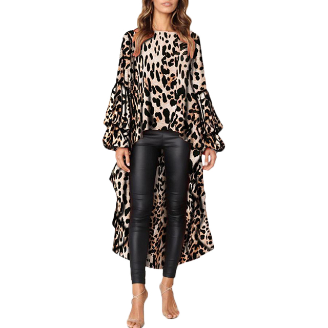 9230693508ee US $11.62 31% OFF|Womens Blouses Leopard Short Before Long Sleeve O Neck  Size Plus Casual Club Party Ol Broadcloth Long Tailed Long Blouses Tops,  -in ...