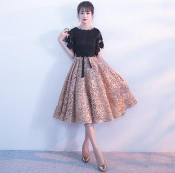 Black Champagne Elegant Dresses Midi Formal Party Dress Short Sleeves Women Female Lace