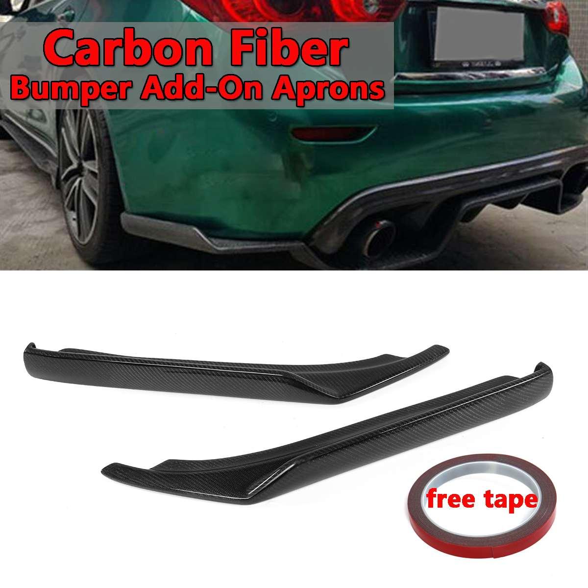 2x Real Carbon Fiber Car Rear Bumper Side Corner Deflector Spoiler Splitters Lip Add-On Aprons For Infiniti Q50 2014-20172x Real Carbon Fiber Car Rear Bumper Side Corner Deflector Spoiler Splitters Lip Add-On Aprons For Infiniti Q50 2014-2017
